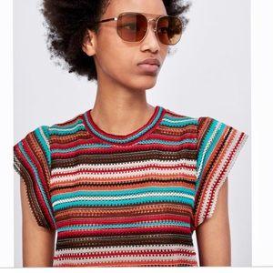 Zara Knit medium short sleeves NWOT
